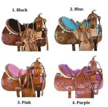"Acerugs 14"" 15"" 16"" 17"" Blue Black Pink Purple Western Inlay Barrel Racing Show Horse Saddle TACK Set Premium Leather"
