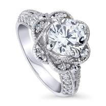 BERRICLE Rhodium Plated Sterling Silver Round Cubic Zirconia CZ Flower Milgrain Art Deco Engagement Ring 2.48 CTW