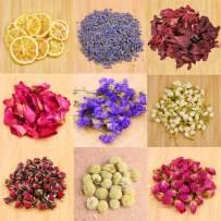 Dried Flowers,Artisan Dried Flower Kit - Candle Making, Soap Making,DIY Soap, Natural Flowers,AAA Food Grade-Lemon,Lavender,Roseleaf,Pink Rose,Red Rose,Jasmine Flower,Rose Petal- 9Bags with Labels