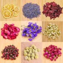 Dried Flowers,Artisan Dried Flower Kit - Candle Making, Soap Making,DIY Soap, Natural Flowers,AAA Food Grade-Lemon,Lavender,Roseleaf,Pink Rose,Red Rose,Jasmine Flower,Rose Petal- 9Bags with Labels