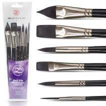 Watercolor Paint Brushes – Smart 6 pc Black Tulip Short-Handle Watercolor Brush Set for Consistent Flow – Gouache, Watercolors, Fluid Acrylics, Inks - Synthetic Squirrel Hair, Vegan, by ZenART