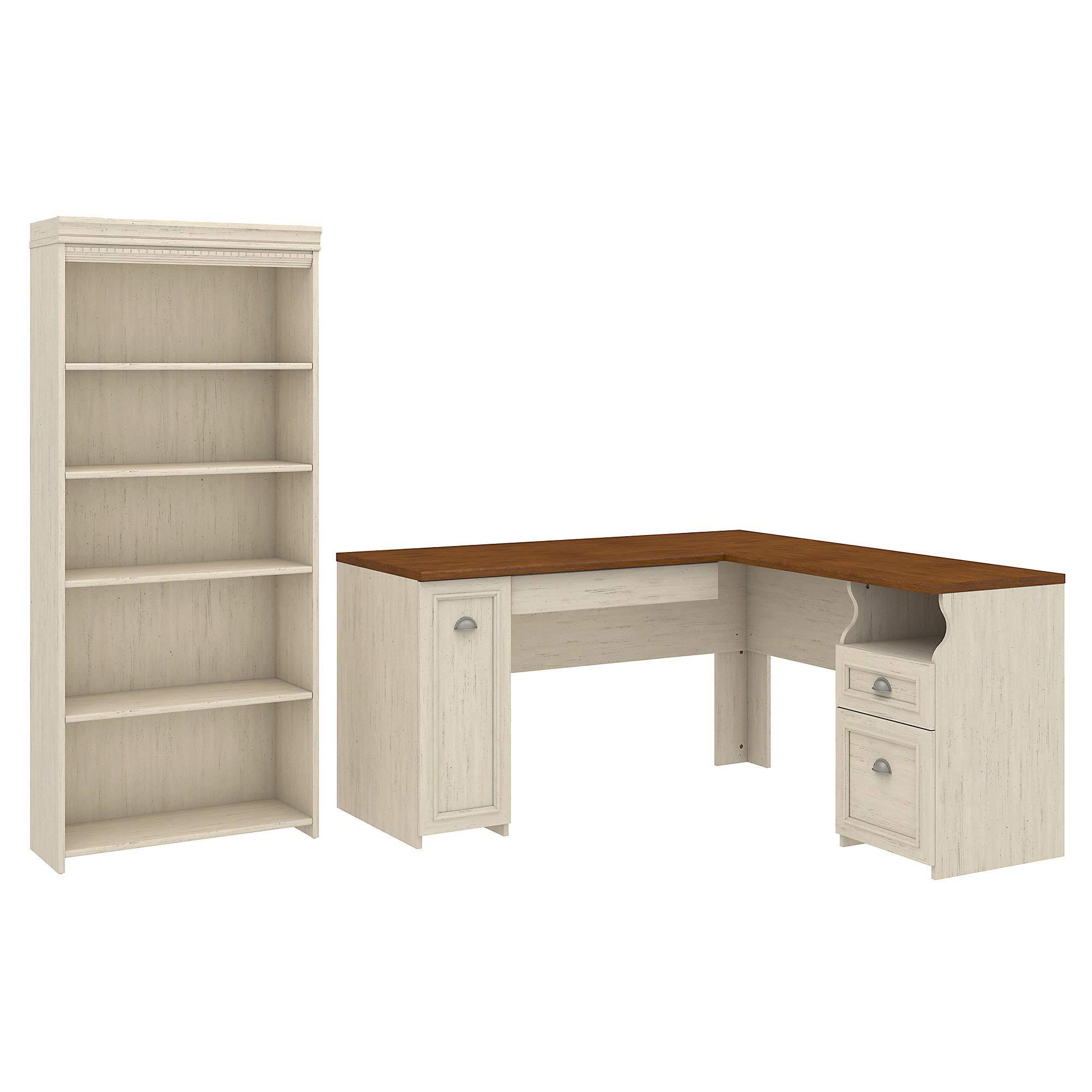Bush Furniture Fairview L Shaped Desk and 5 Shelf Bookcase in Antique White