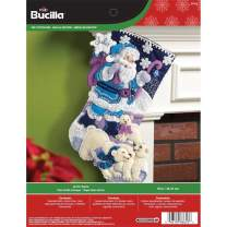 Bucilla 18-Inch Christmas Stocking Felt Applique Kit, Arctic Santa