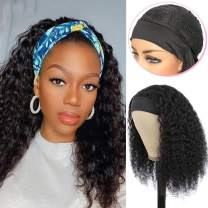 """Glueless Human Hair Wigs with Black Headband Non Lace Front Wigs Long 20"""" Curly Wave Wigs for Women No Plucking Turban Wigs, Can Be Dyed & Straightend"""