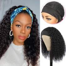 "Glueless Human Hair Wigs with Black Headband Non Lace Front Wigs Long 20"" Curly Wave Wigs for Women No Plucking Turban Wigs, Can Be Dyed & Straightend"