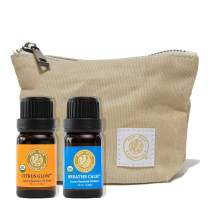 Red Silk Essentials USDA Organic Citrus Glow & Breathe Calm Essential Oil Blends with Canvas Travel Case, Pure Natural Aromatherapy