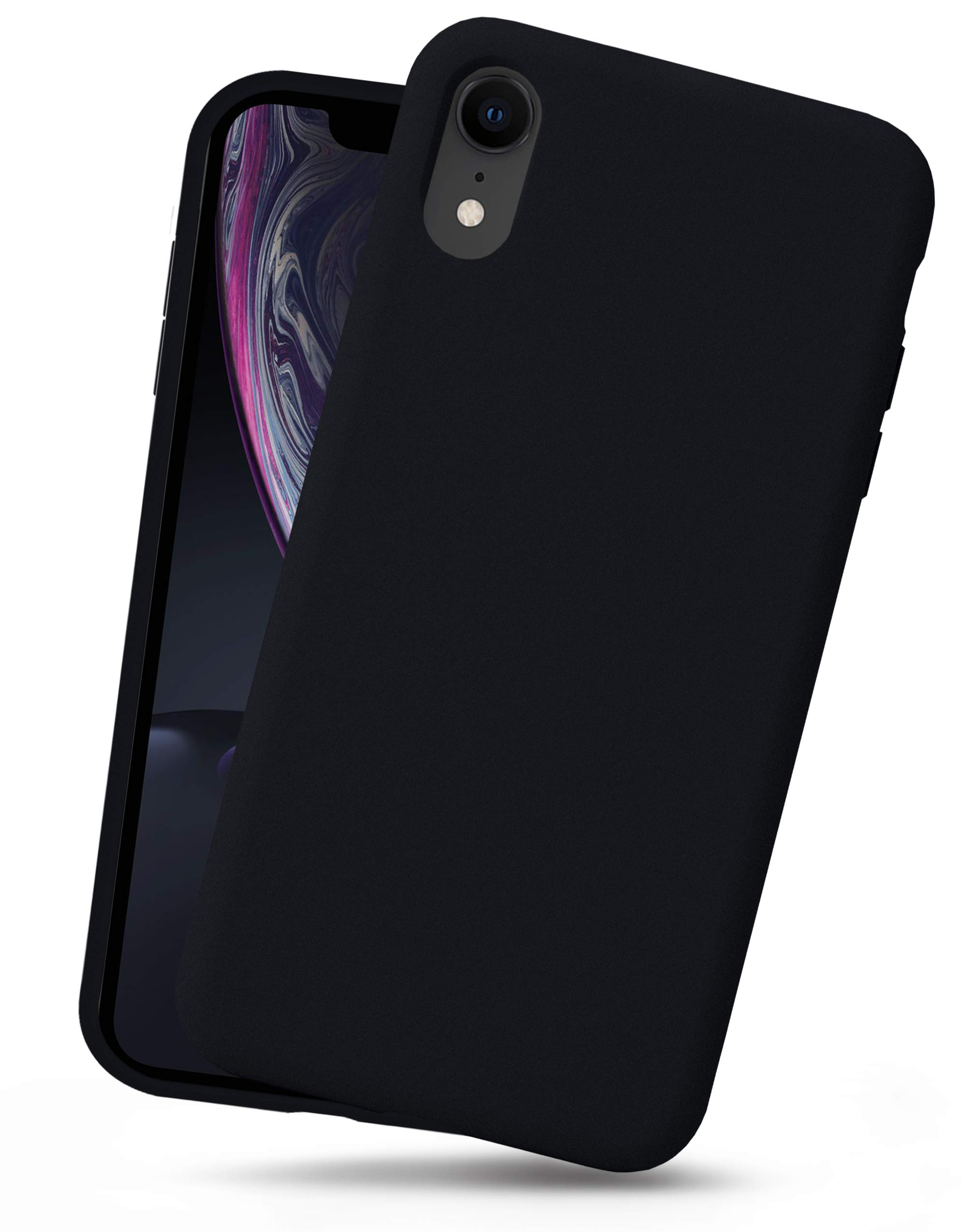 OCOMMO iPhone XR Silicone Case, Full Body Shockproof Protective Liquid Silicone XR Cases with Soft Microfiber Lining, Wireless Charge Pad Compatible, Black