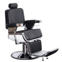 BarberPub All Purpose Heavy Duty Vintage Hydraulic Recline Barber Chair Salon Beauty Spa Styling Equipment N2009BK, Black