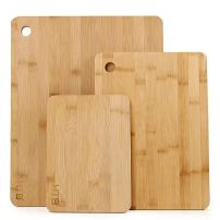 """3 Piece Bamboo Cutting Board Set, Assorted Size Kitchen Chopping Board Set 8.7"""" x 6.3"""",12"""" x 8.7"""",14.9"""" x 12"""" by HTB"""