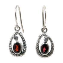 NOVICA Fair Trade .925 Sterling Silver and Garnet Stone Snake Earrings, Rainforest Goddess'