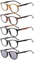 Eyekepper 5-Pack Spring Hinges80's Reading Glasses Includes Sunshine Readers +2.00