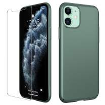 Meifigno Simplicity Series iPhone 11 Case [with Tempered Glass Screen Protector], Ultra Thin Hard Plastic Full Protective Case, Slim Fit Matte Phone Cover for iPhone 11 6.1 Inch 2019, Midnight Green