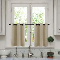 MRTREES Short Tier Curtains 36 inches Long Beige Kitchen Tiers Room Darkening Cafe Curtains Bathroom Small Window Treatment Grommet Top Set 2 Panels
