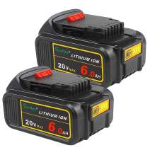 2 Pack Waitley DCB200 6.0A Replacement Battery Compatible with Dewalt 20V Max XR Tools