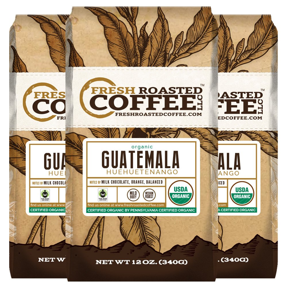 Fresh Roasted Coffee LLC, Organic Guatemalan Huehuetenango Coffee, Medium Roast, USDA Organic, Fair Trade, Whole Bean, 12 ounce Bag, 3 Pack