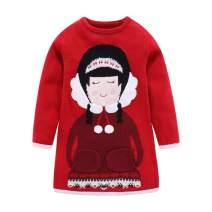 Mud Kingdom Little Girls Christmas Sweater Long Cute Printing Red