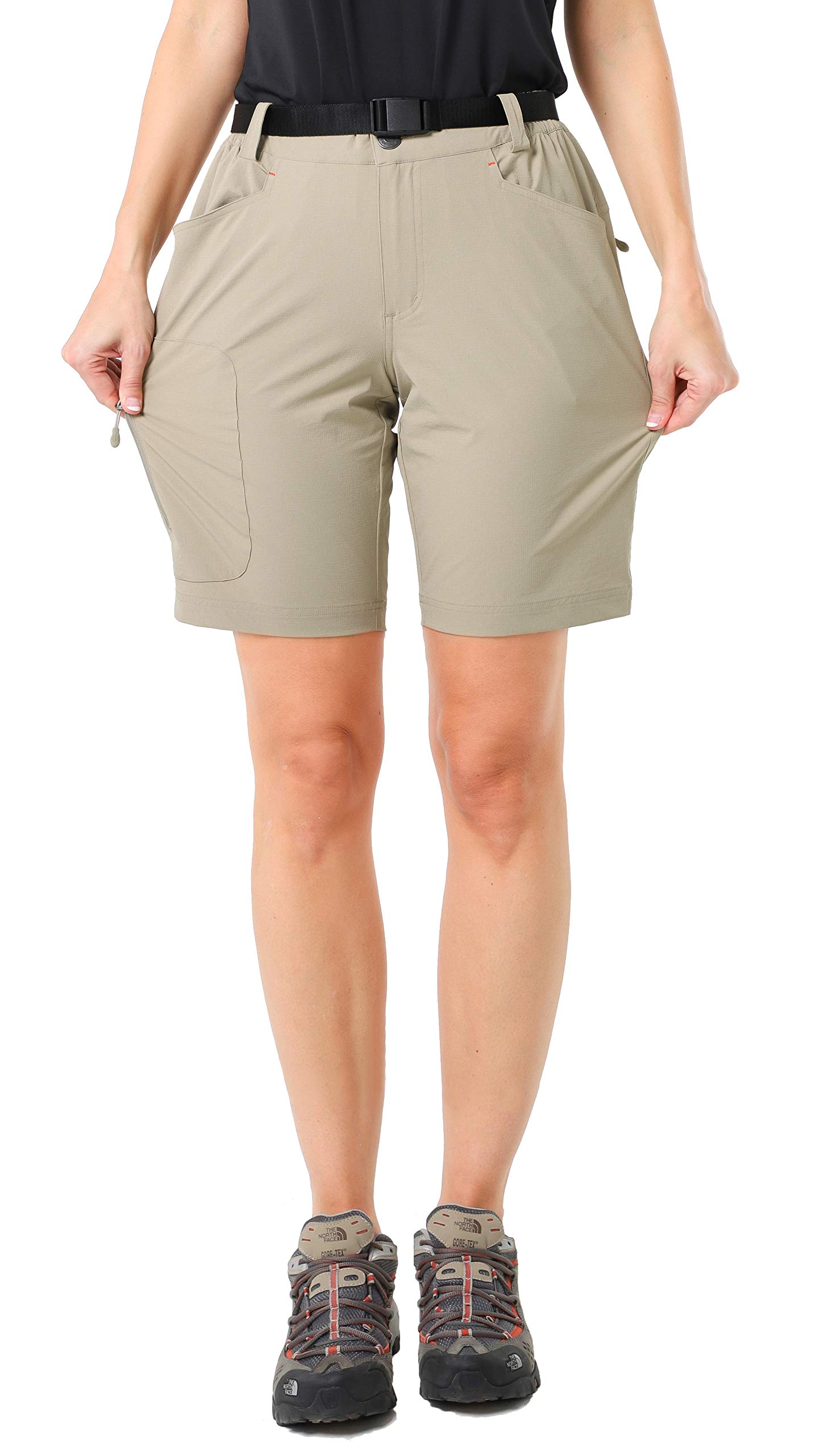 MIER Women's Stretchy Hiking Shorts Lightweight Quick Dry Cargo Shorts with 5 Pockets, Water Resistant(Exclude Belt