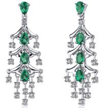 Peora 4.00 Carats Simulated Emerald Dangle Earrings Sterling Silver