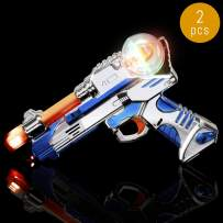 Lumistick LED Spinning Pistol | Light up Gun with Action & Sound Super Space Plastic Shooter Flashing Multi-Color Glowing Toy Night Party Favor (2 Pistols)