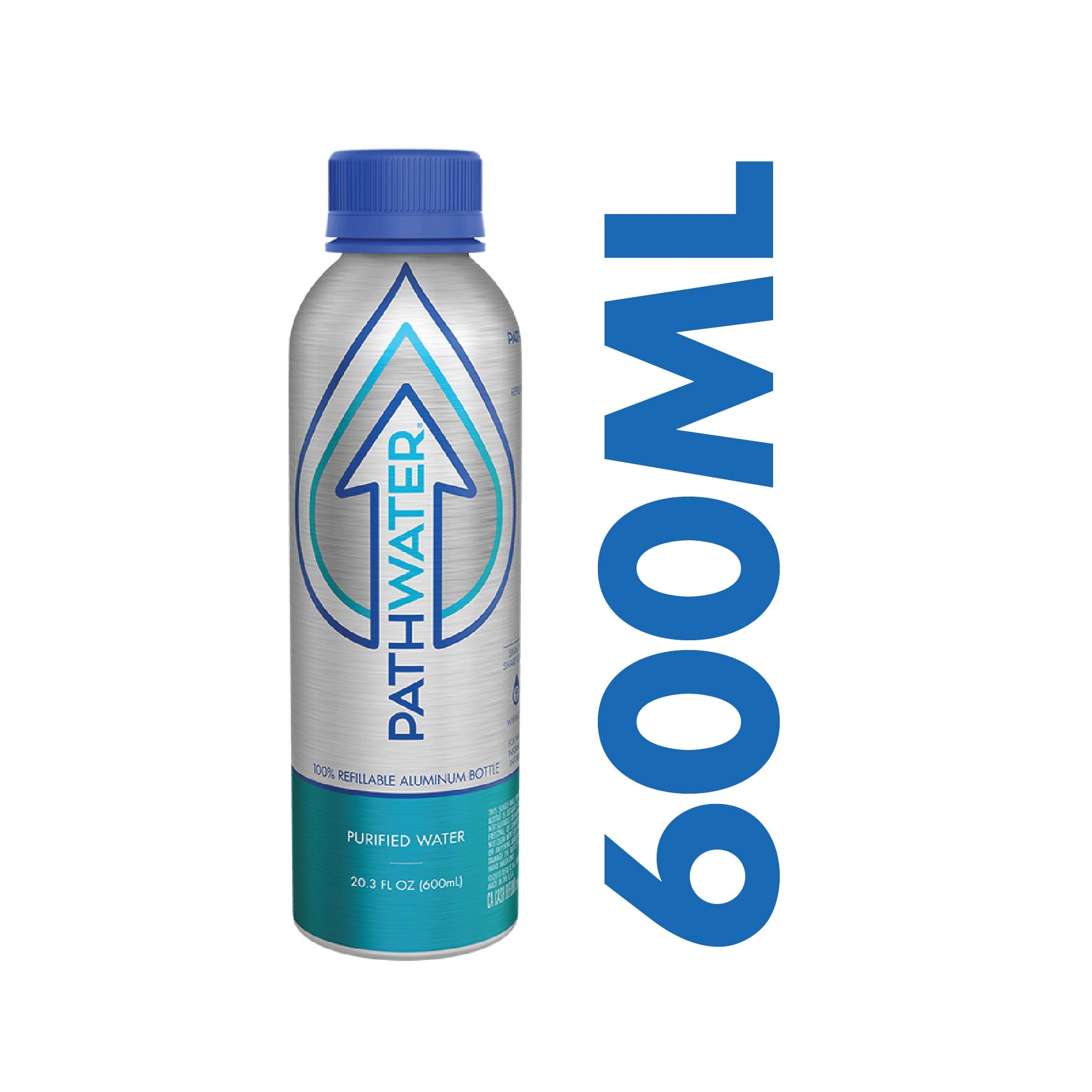 PATHWATER Purified Flouride Free Water in Eco-Friendly, Sustainable BPA Free Reusable Recyclable Durable Light Weight Leak Proof Sleek Aluminum Bottle (600 mL, 20 Ounces, Single Bottle)