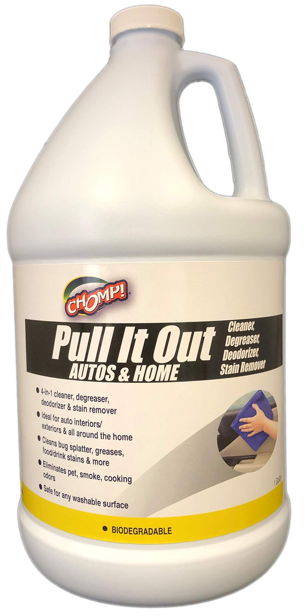Chomp Heavy Duty Degreaser Cleaner Refill: Pull It Out Autos & Home Multi Purpose Degreaser, Deodorizer & Stain Remover for Automotive Exteriors, Floor Mats & Upholstery, Kitchen Appliances, Stoves – 1 Gal