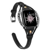 Wearlizer Black Leather Compatible with Apple Watch Bands 38mm 40mm for iWatch SE Womens Handmade Twist Strip Strap with Bronze Rivet Rope Wristband Stylish Bracelet (Silver Clasp) Series 6 5 4 3 2 1