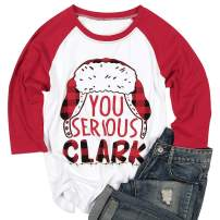 NANYUAYA You Serious Clark T-Shirt Women Cute Christmas Letter Print T Shirt Raglan Sleeve Baseball Tees Top