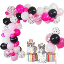 """Cat Balloon Garland Kit- 75 Pack 12"""" 5"""" Paw Print Black White Pink Light Rose Red Latex Balloons Confetti Balloons Strip Set for Cat Dog Birthday Supplies Pet Kitten Meow Party Decorations"""