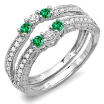 Dazzlingrock Collection 14K Round Emerald And White Diamond Ladies Anniversary Wedding Band Enhancer Guard, White Gold