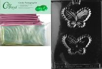 """Cybrtrayd """"Butterfly Candy Dish"""" Moms Chocolate Candy Mold with Packaging Bundle, Includes 25 Cello Bags and 25 Pink Twist Ties"""
