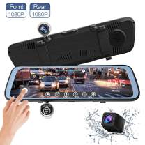 ALWEEN10 inch Mirror Dash Cam Touch Full Screen ; 1080P 170° Full HD Front Camera;1080P 140°Wide Angle Full HD Rear View Camera;Time-Lapse Photography,Parking Monitoring,350 Degree Rotation Camera.