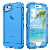 DUEDUE iPhone SE 2020 Case, iPhone 6 Case, iPhone 6S Case, Shockproof Drop Protection 3 in 1 Hybrid Hard PC Cover Transparent TPU Bumper Protective Phone Case for iPhone 6S/6/SE2 for Men/Women, Blue