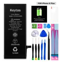 Keytas 3510mAh Replacement Battery Compatible with iPhone 6 Plus, for iPhone 6 Plus High Capacity Replacement Battery with Complete Tools Kit and Free Screen Protector, 2 Years Warranty
