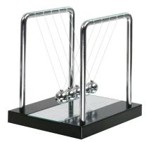 Newtons Cradle Balance Balls with Medium Mirror Wooden Base Fun Science Physics Learning Desk Toys Fun Gadget Pendulum for Office and Home Decoration-Medium Mirror1