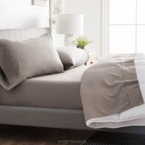 Brookside - Microfiber Sheet Set - Soft and Cozy - Hypoallergenic - Easy Care Fabric - Stain and Wrinkle Resistant - Split California King - Sandstone