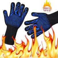 Tauner BBQ Grill Gloves Silicone Barbecue Grilling Non-Slip Kitchen Fireproof Oven Cut Resistance Gloves for Cooking Baking Welding (A Pair)