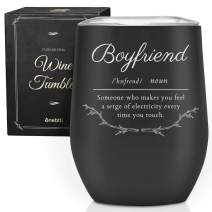 Funny Birthday Wine Tumbler for Men, Him, Boyfriend, Best Friends, Husband,12 oz Stainless Steel Wine Cup with Lid at Valentine's Christmas Day-Black and Silver