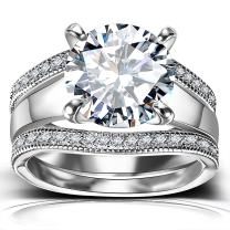 Platinum Plated Bridal Set - Round Cut Cubic Zirconia Rings Women Engagement Ring Set with Wedding Band
