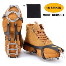 LYTOPTOP Crampons Ice Traction Cleats with 18 Stainless Steel Spikes Ice Grippers for Men Women, Boots Shoes Safe Protect for Hiking Walking Climbing Fishing Mountaineering Jogging