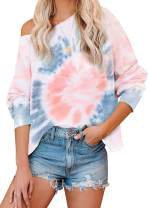 MISSJOY Women's Tie Dye Printed Long Sleeve Sweatshirt Round Neck Casual Loose Pullover Tops Shirts