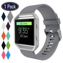 KingAcc Bands for Fitbit Blaze, Compatible Blaze Bands, Soft Accessory Replacement Band for Fitbit Blaze, with Metal Buckle Smartwatch Strap Women Men (1-Pack, Gray, Small) [No Frame]