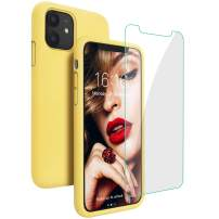 JASBON Case for iPhone 11, Silicone Shockproof with [Tempered Screen Protector], Gel Rubber Full Body Protection Drop Protection 6.1 inch Cover for iPhone 11 2019-Yellow