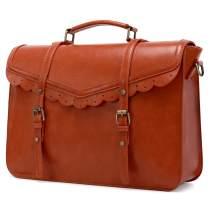 ECOSUSI Briefcase for Women Vegan Leather Laptop Bag 15.6 inch Messenger Bag for School Water Resistant Vintage Satchel Bag Brown
