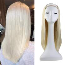 Sunny U Part Wig Human Hair Blonde 16 inch One Piece Remy Hair U Part Wig #60 Platinum Blonde Half Wig Clip in U Part Hair Extensions For Women 120g