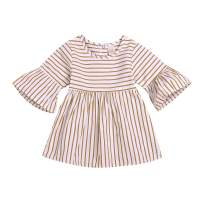 Kids Toddler Baby Girls Summer Dress Outfits Stripe Ruffle Sleeve Dresses Party Tutu Skirt Sunsuit Clothes Set