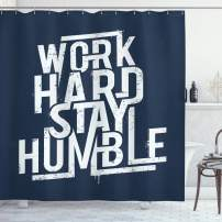 "Ambesonne Saying Shower Curtain, Futuristic Design Inspirational Saying Work Hard Stay Humble Typography, Cloth Fabric Bathroom Decor Set with Hooks, 75"" Long, Night Blue"