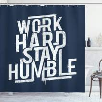 """Ambesonne Saying Shower Curtain, Futuristic Design Inspirational Saying Work Hard Stay Humble Typography, Cloth Fabric Bathroom Decor Set with Hooks, 75"""" Long, Night Blue"""