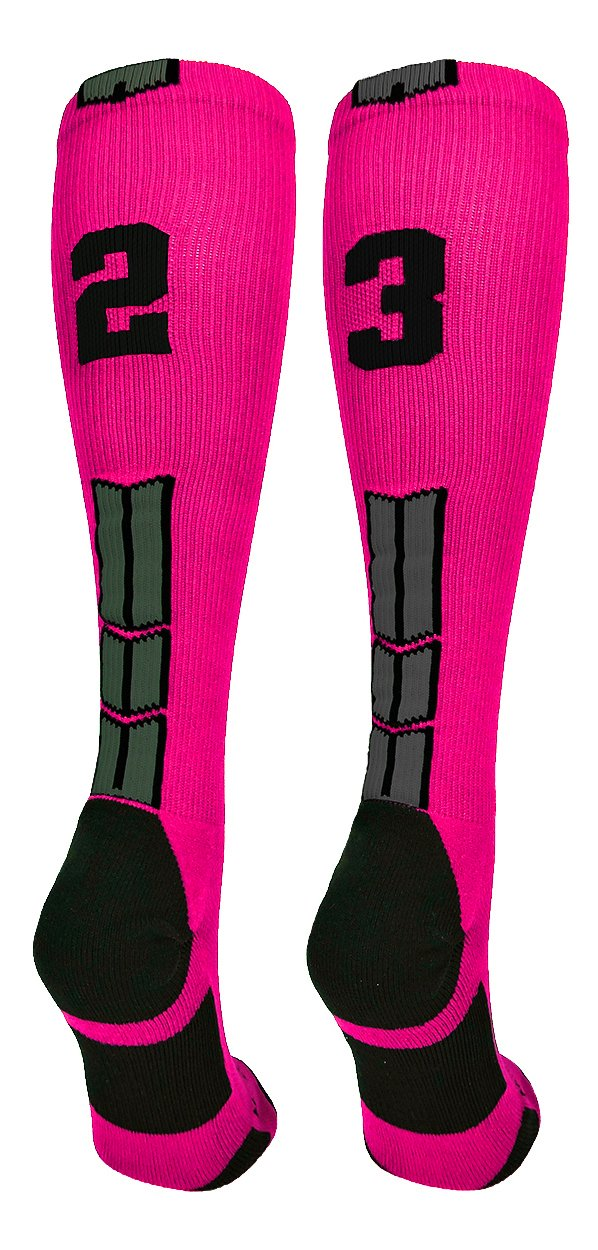 MadSportsStuff Player Id Jersey Number Socks Over The Calf Length Neon Pink and Black