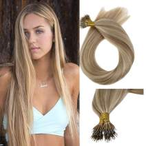 "LaaVoo 18"" Brazilian Remy Micro Nano Ring Hair Extensions Highlight Color Ash Blonde with Medium Blonde 100% Human Real Human Hiar Extensions for Women 1g/strand 50g"
