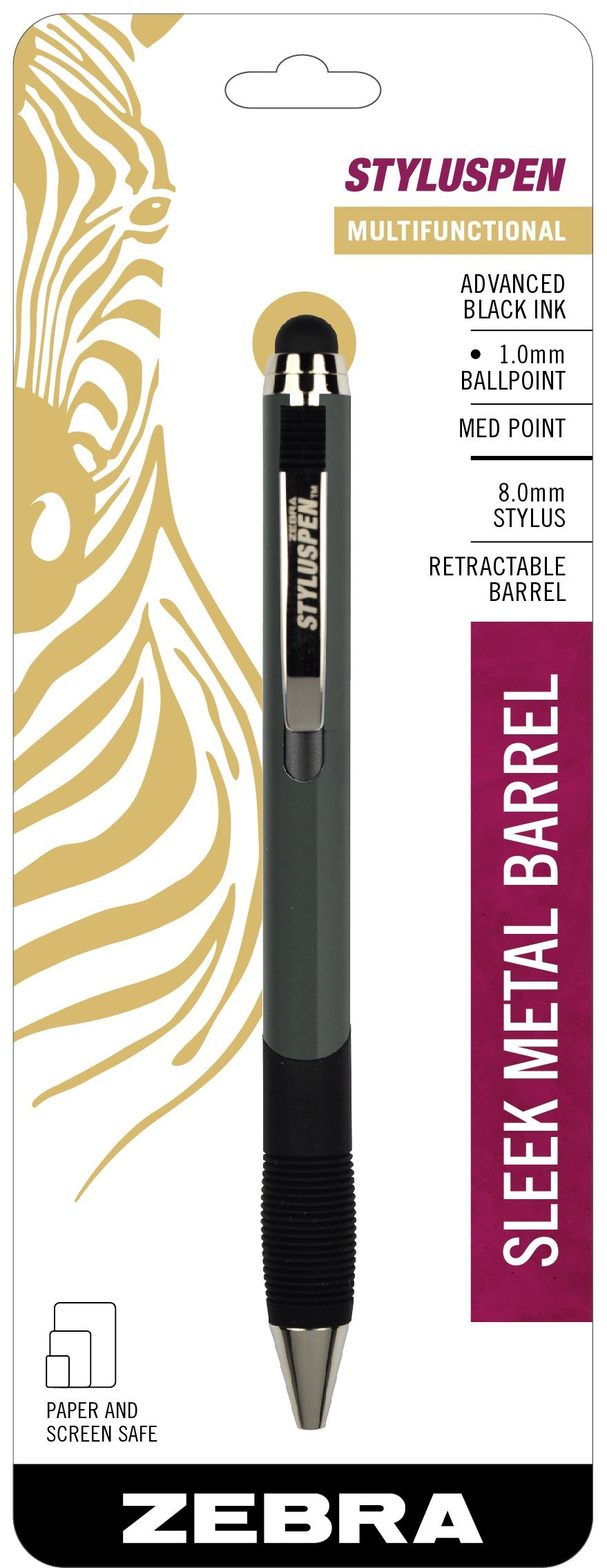 Zebra StylusPen Retractable Ballpoint Pen, Medium Point, 1.0mm, Black Ink, Slate Grey Barrel, 1-Count